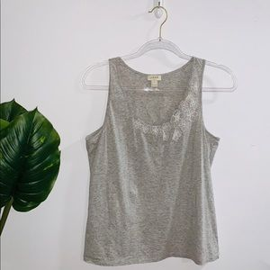 J.Crew Gray With White Flowers Tank Top Small-Med